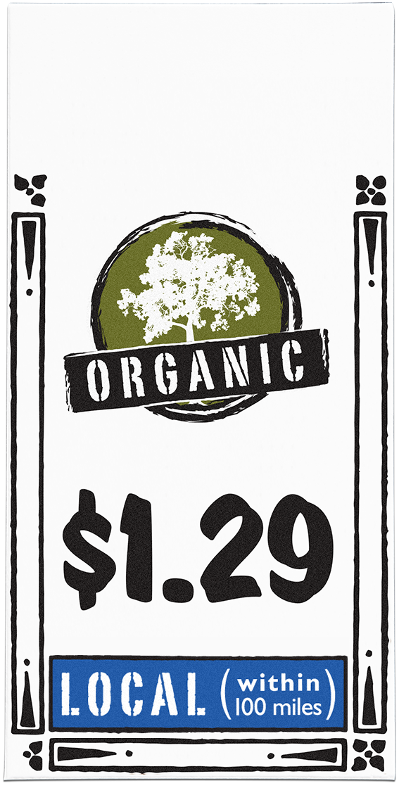Nugget Markets price tag with organic lifestyle icon