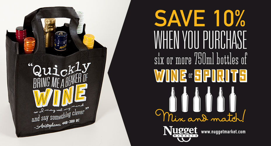 Save 10% when you purchase 10 or more bottles of wine or spirits!