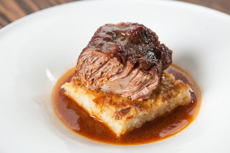Braised Short Ribs on Potato Kugel