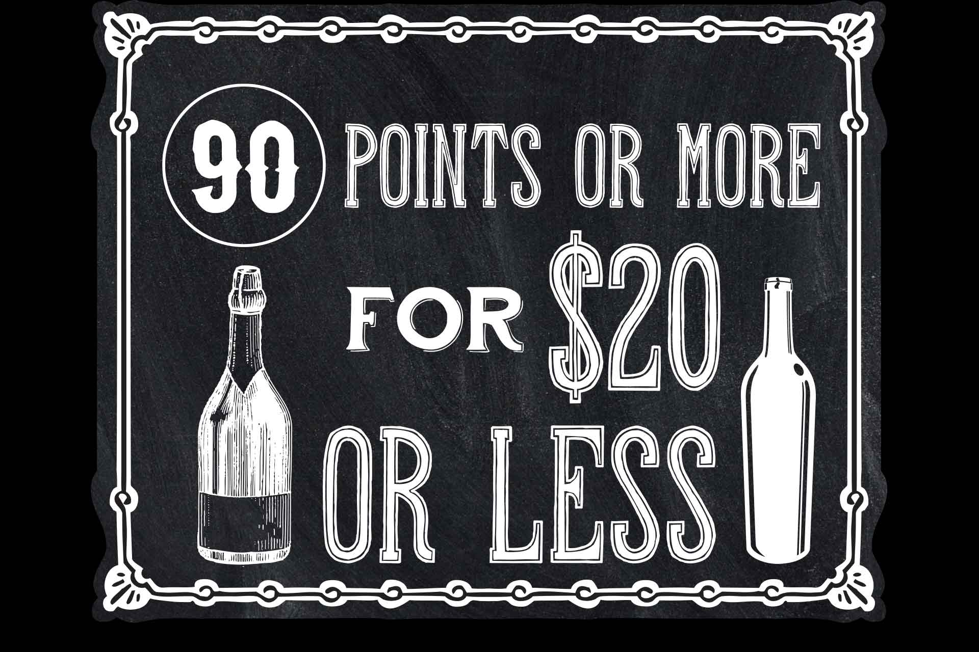 90 Pint Wines or More for $20 or Less