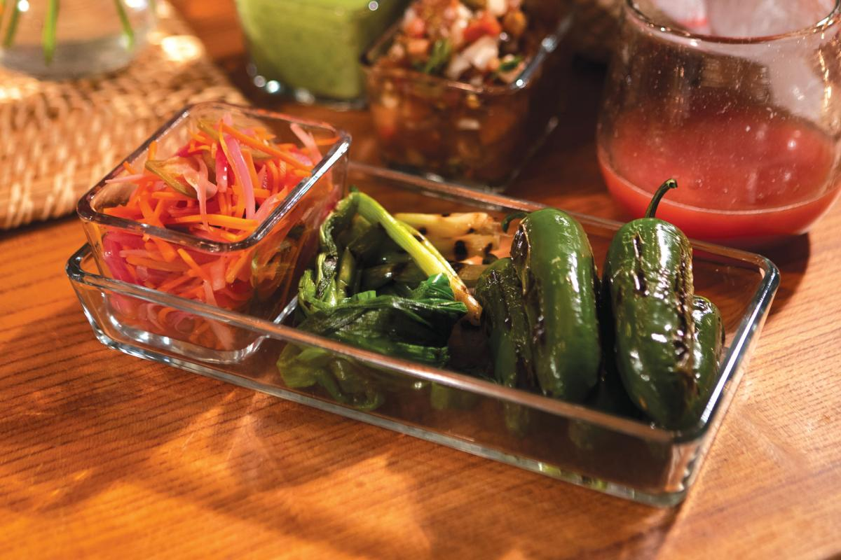 pickled and grilled jalapeños and vegetables