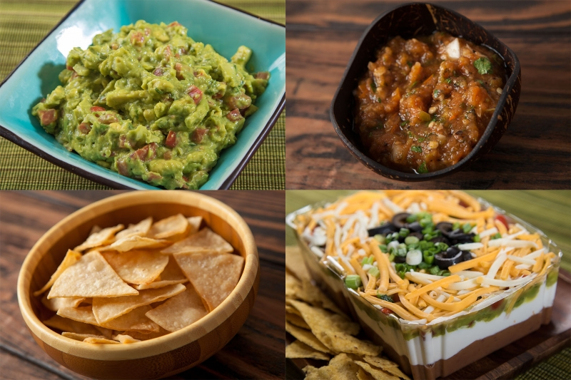 Guacamole, salsa, corn chips and 7-layer dip