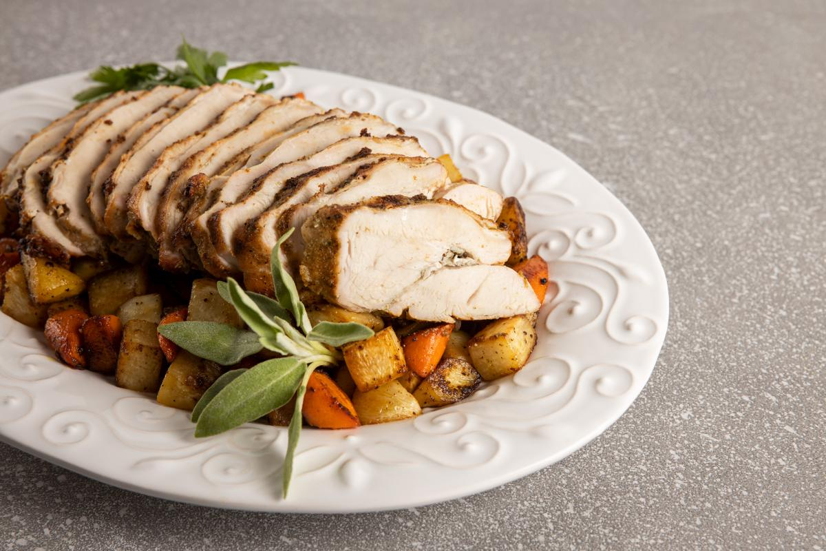 Pan-Roasted Turkey Breast with Caramelized Root Vegetables