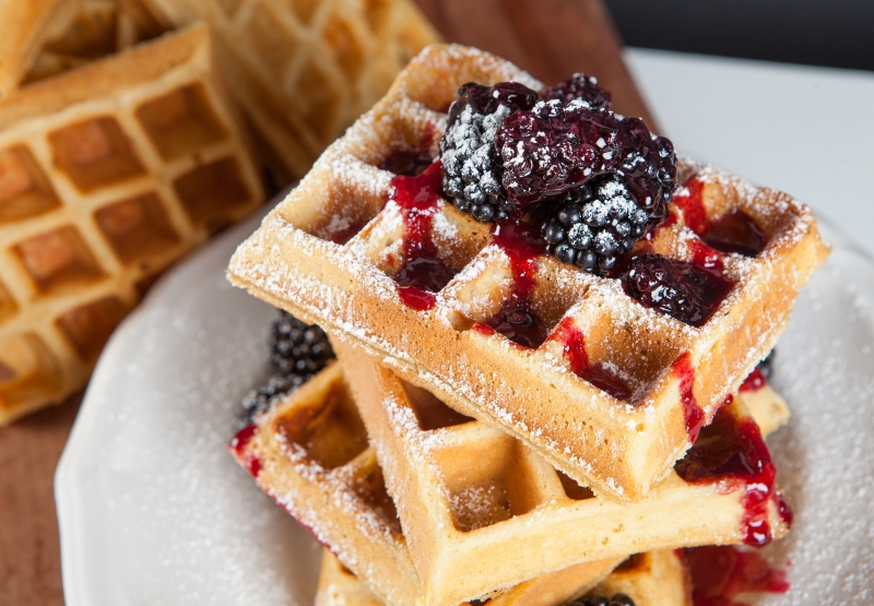 Peanut Butter Waffles and Blackberry Gose Syrup