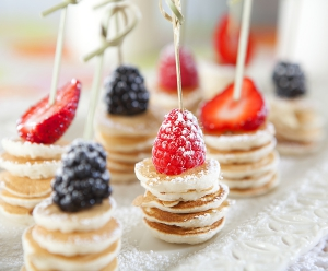 Pancake Coin Brochettes with Fresh Berries