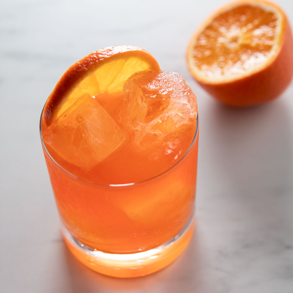 aperol rosé cocktail with orange