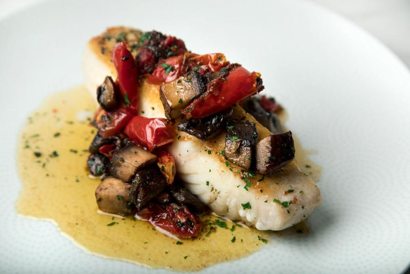 Halibut with Roasted Tomatoes, Portabella Mushrooms & Browned Butter