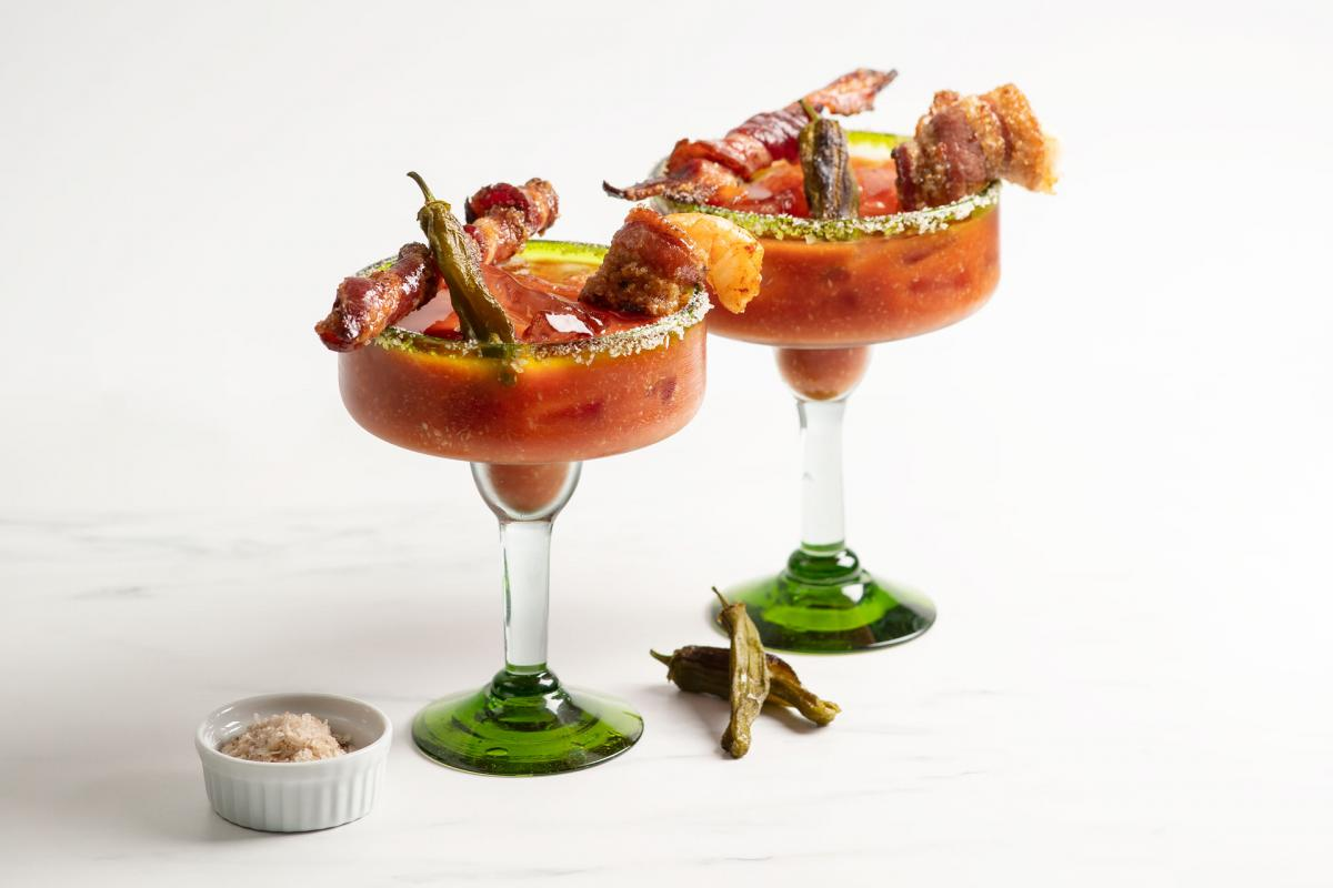 mezcal bloody Marys with candied bacon