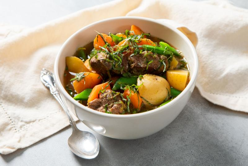 spring lamb stew in a bowl