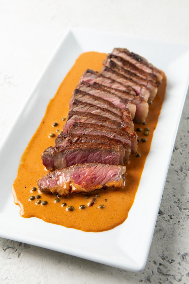 New York Steak with Tomato Bourbon Peppercorn Sauce
