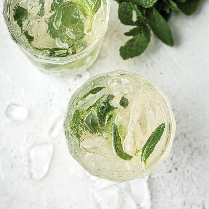 olipop art mocktails with mint