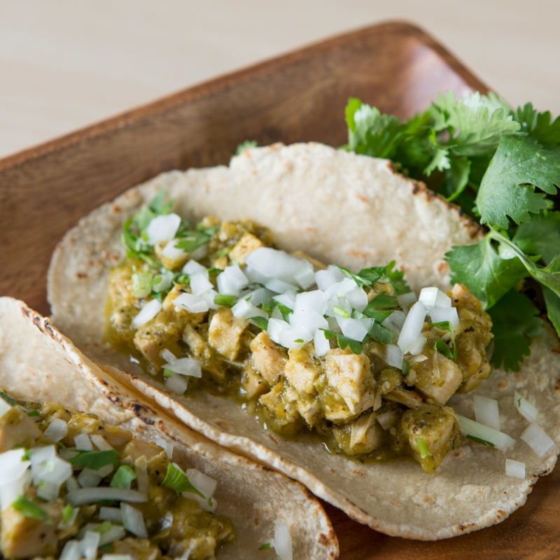 Turkey Chile Verde Tacos