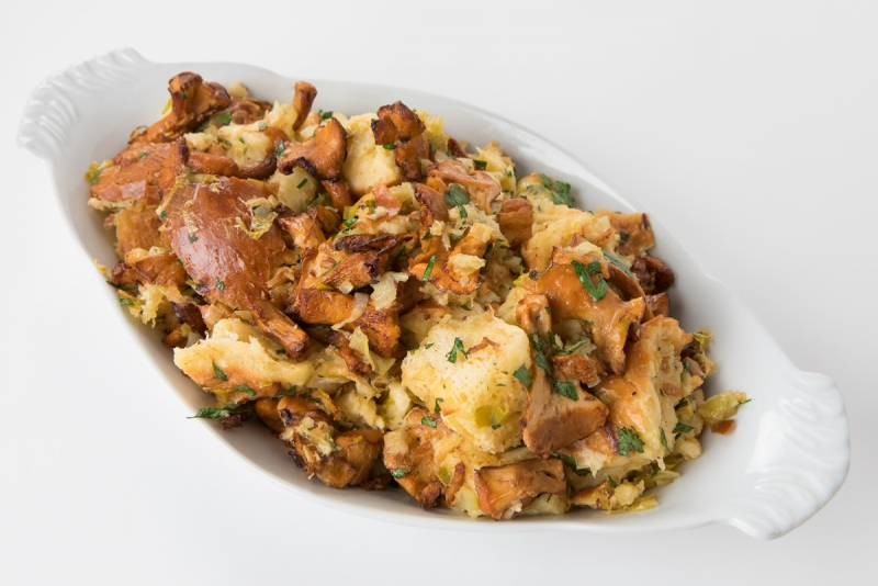brioche chanterelle bread pudding in a casserole dish