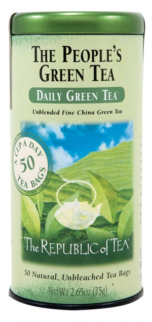 Green A treasure of China and Japan and now of America, green tea leaves are heated or steamed immediately after harvest, producing an all–natural flavor with nourishing antioxidants. Try The People's Daily Green Tea.