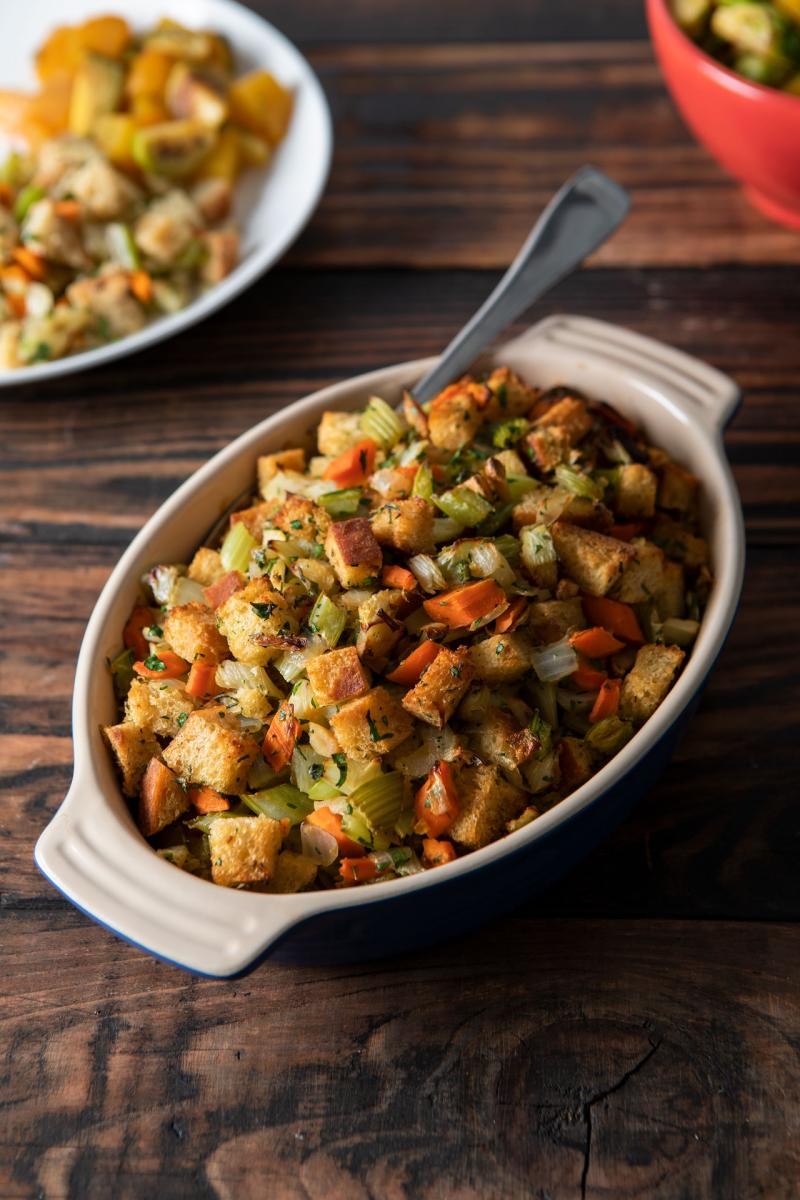 Holiday Stuffing in a casserole dish