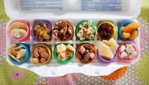 Easter eggs with heathy snacks