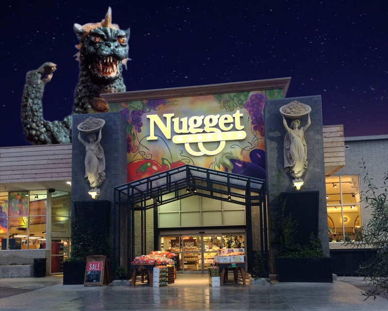Giant monster attacks Nugget Markets, Woodland