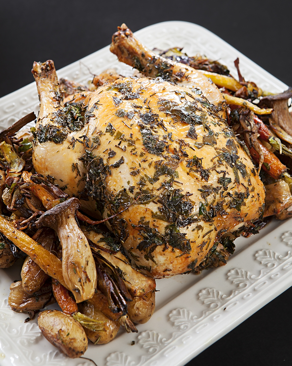 Roast Chicken with Tubers & Mushrooms