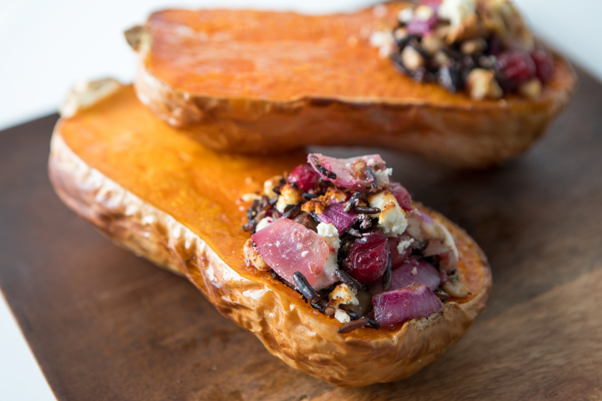 roasted and stuffed butternut squash