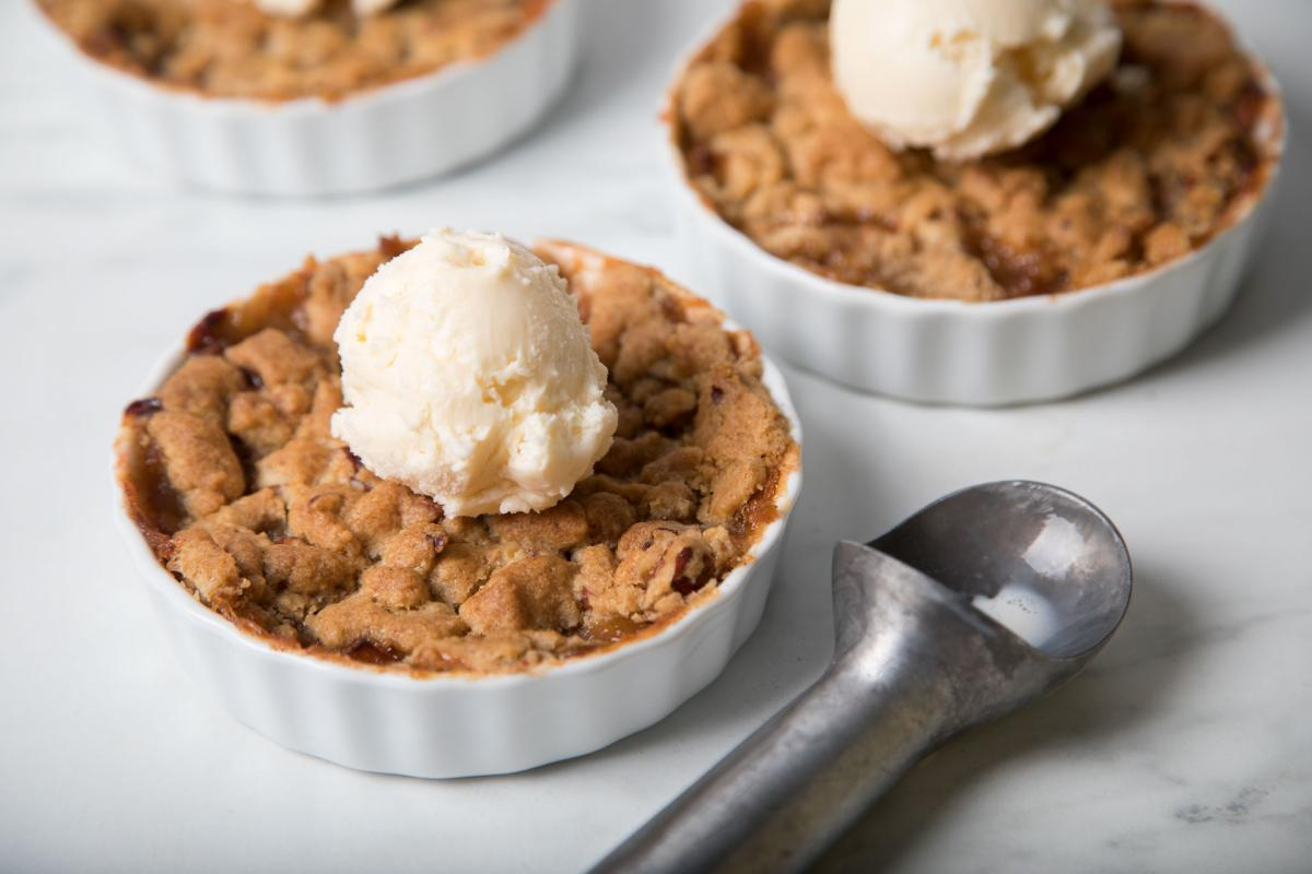 Rhubarb & Apple Crisp with Ice Cream on Top