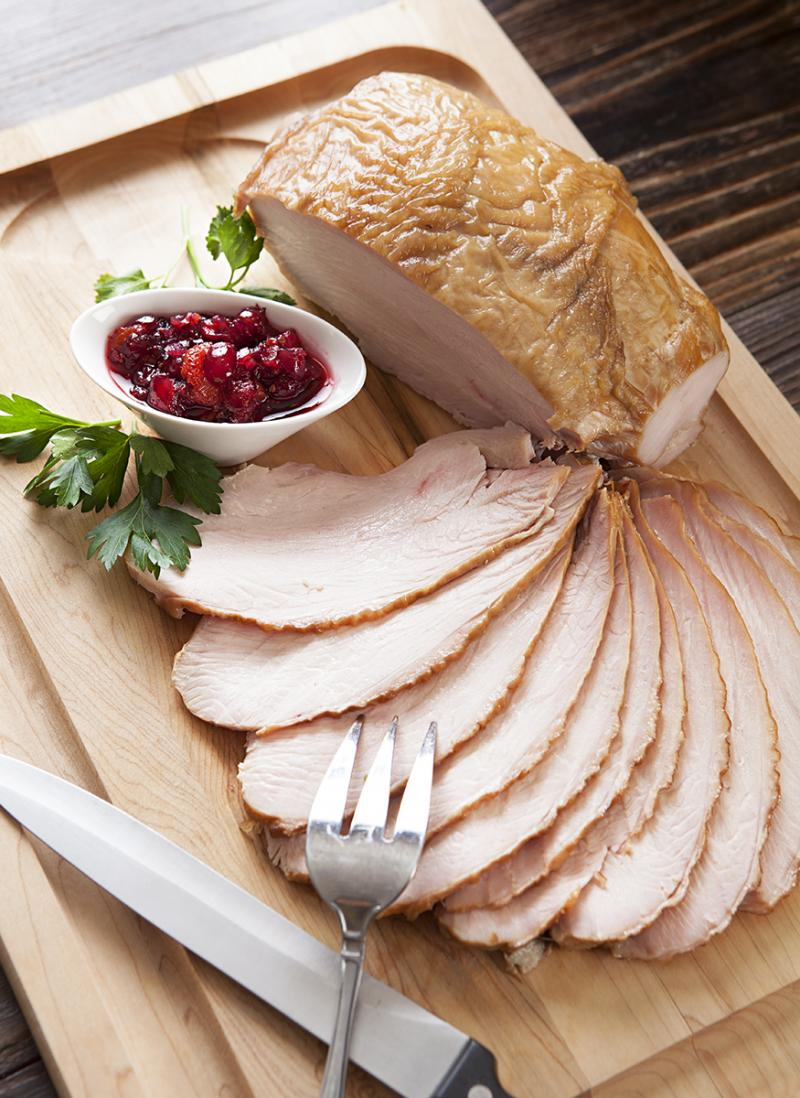 brined turkey breast sliced