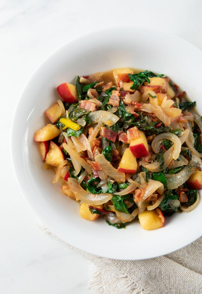 Swiss Chard with Apple & Bacon
