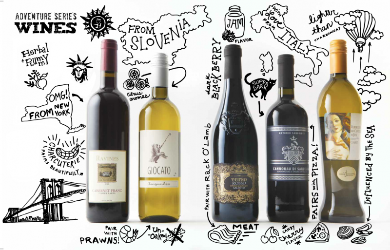wine bottles with illustrations