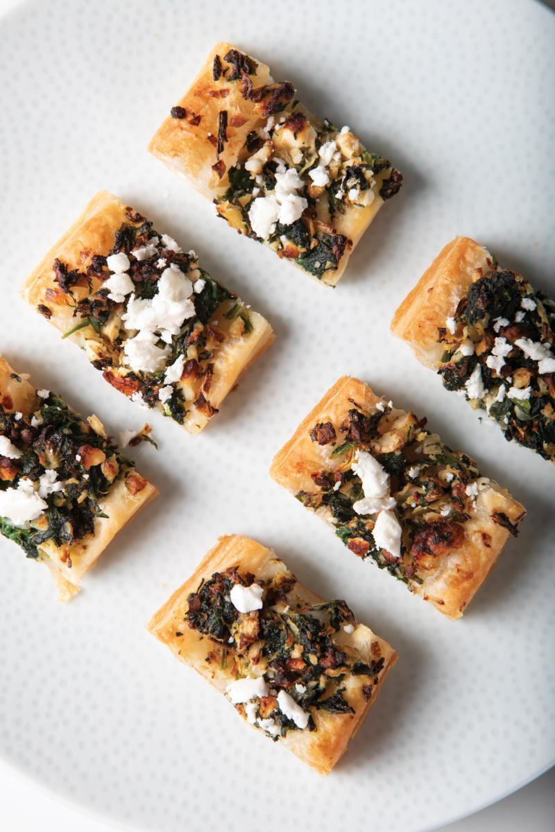 feta and spinach puffs on a plate