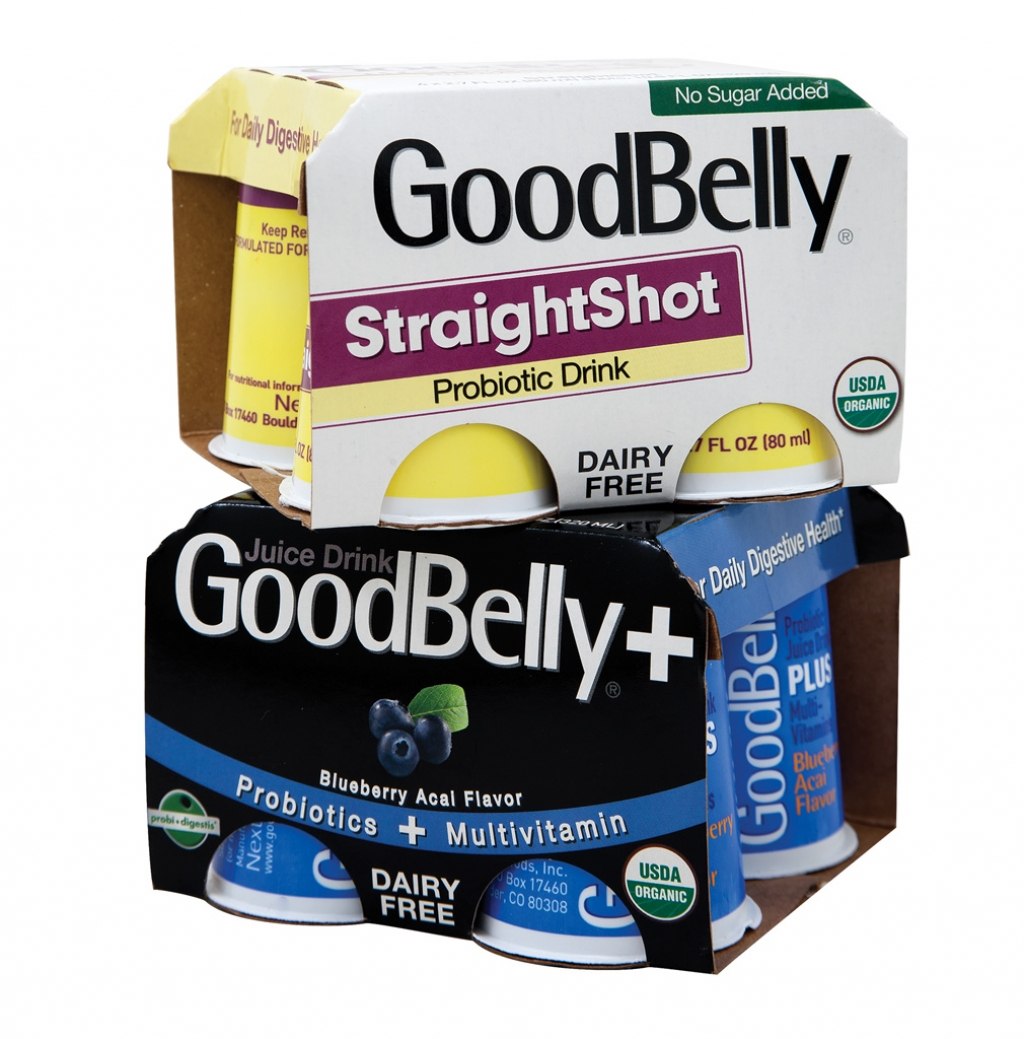 GoodBelly Straight Shot and GoodBelly + (in blueberry acai flavor) probiotic shot drinks