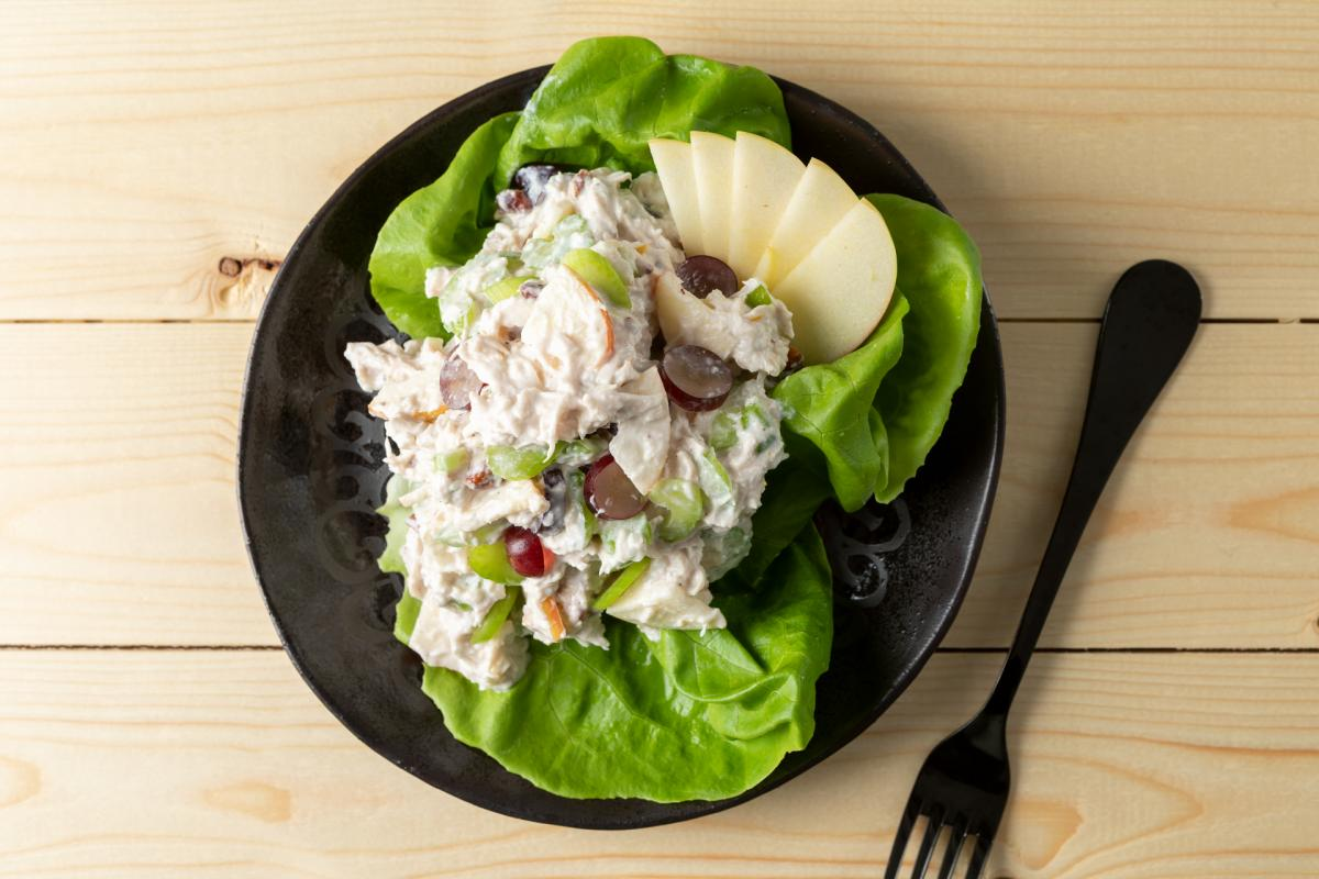 chicken Waldorf salad on butter lettuce
