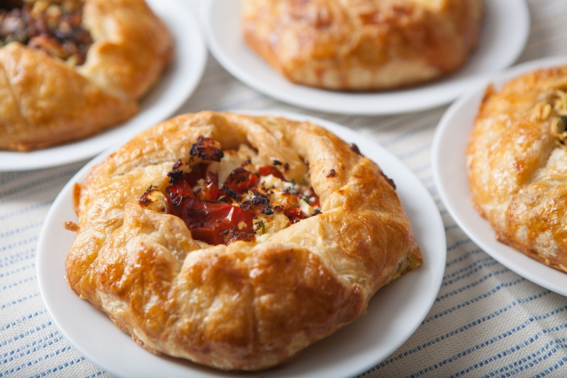 Roasted Tomato, Feta And Thyme Galettes