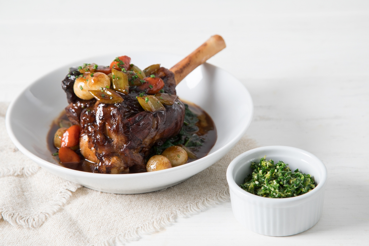 Braised Lamb Shank with Sautéed Spinach & Gremolata