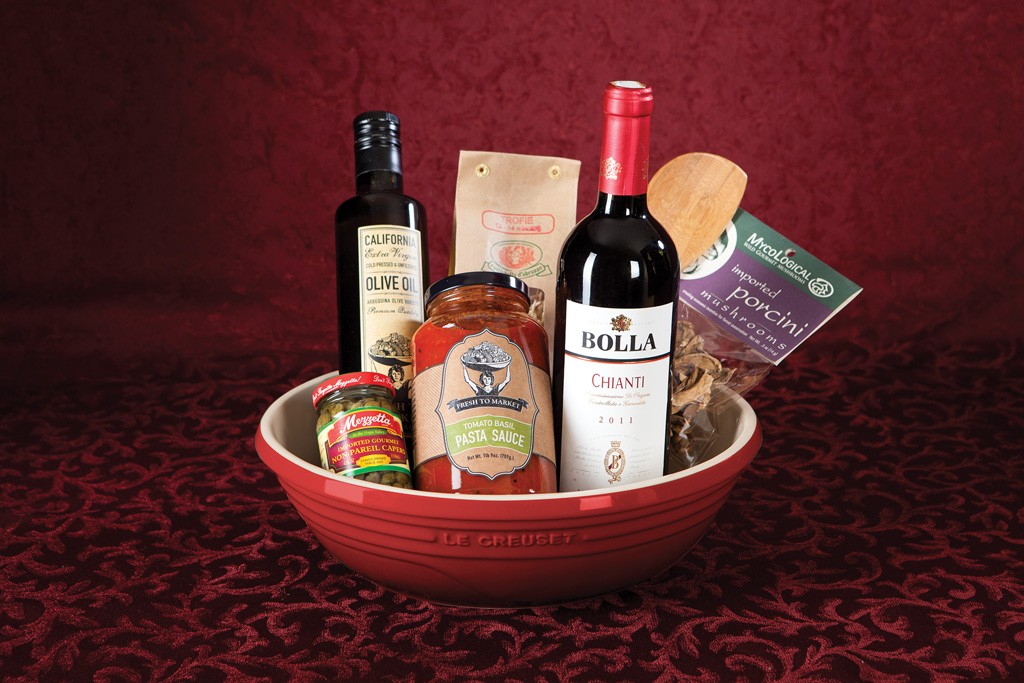 Pasta Gift Basket  Our Pasta Basket comes with premium pasta, Fresh to Market Pasta Sauce, olives, olive oil and other accompaniments, all in a pretty Le Creuset mixing bowl.