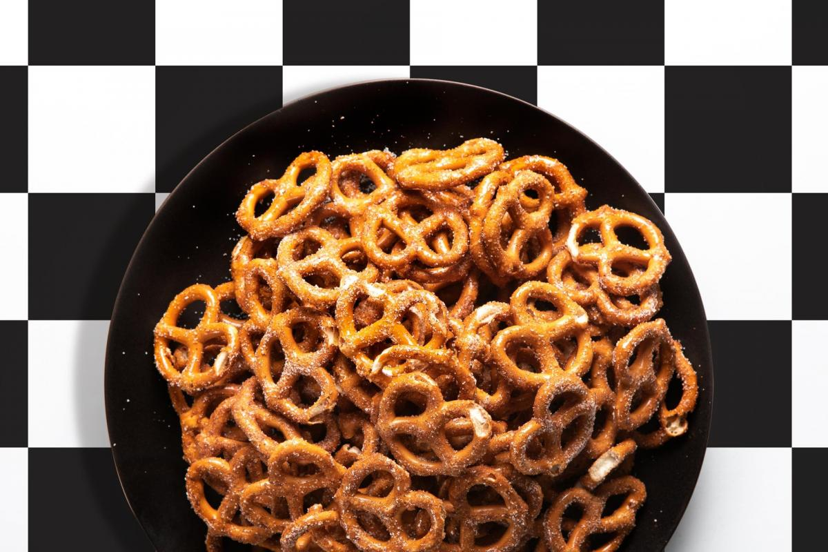 cinnamon pretzel twists in a bowl