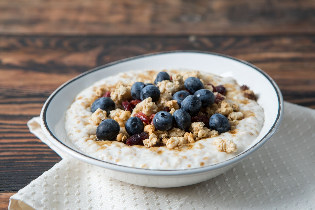 Steel-Cut Oatmeal with Berries and Granola on Top