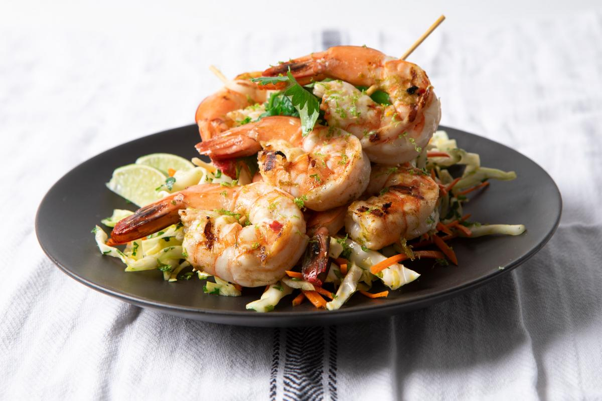 shrimp skewers on a plate
