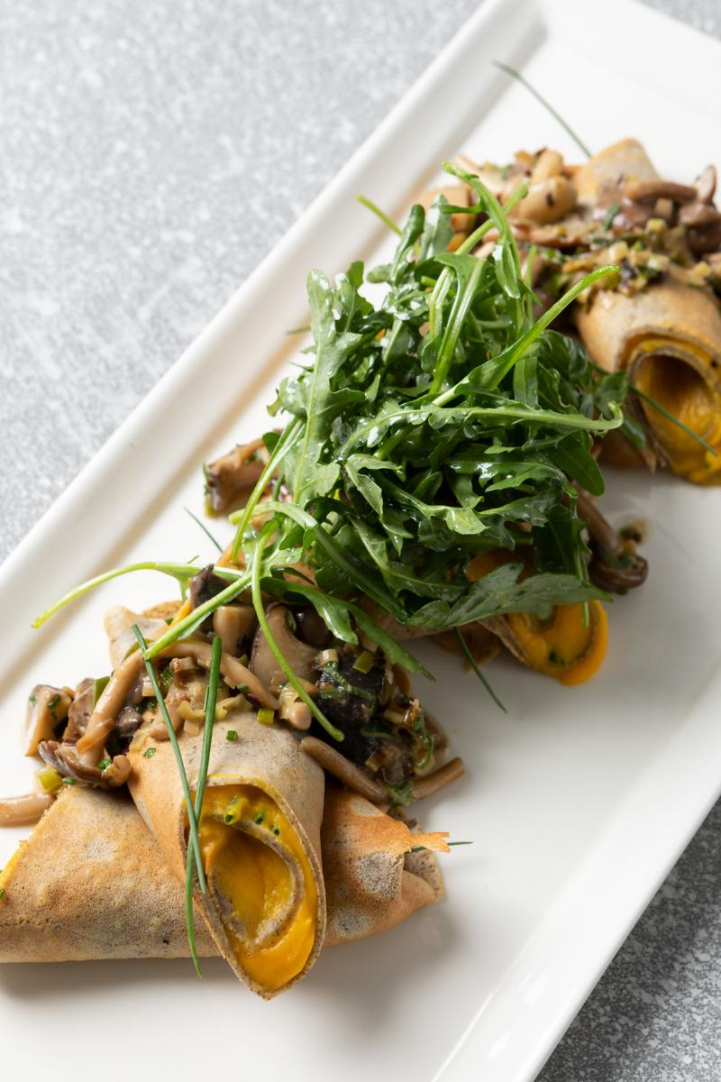 Savory Crepes with Butternut Puree and Mushroom Ragout