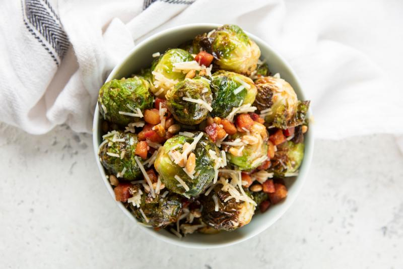 Roasted Brussels Sprouts with Pancetta & Pecorino Romano