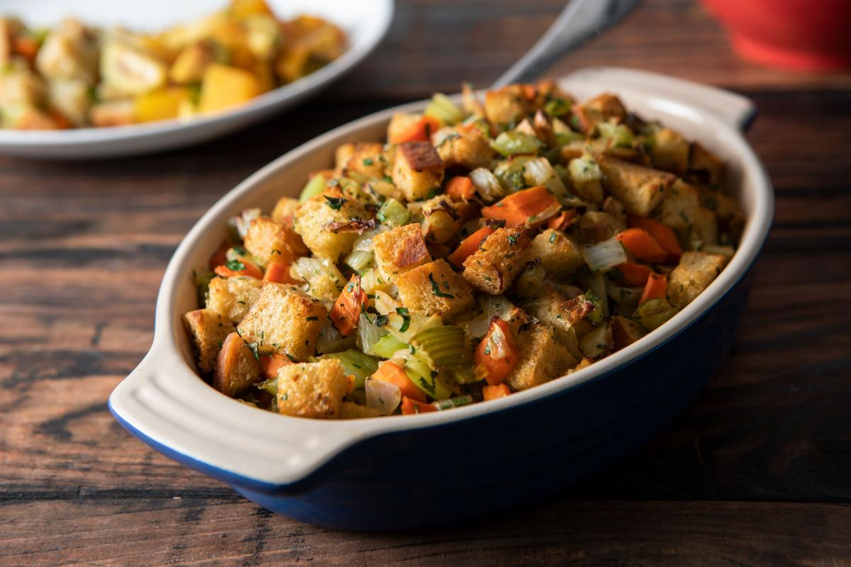 stuffing in a casserole dish