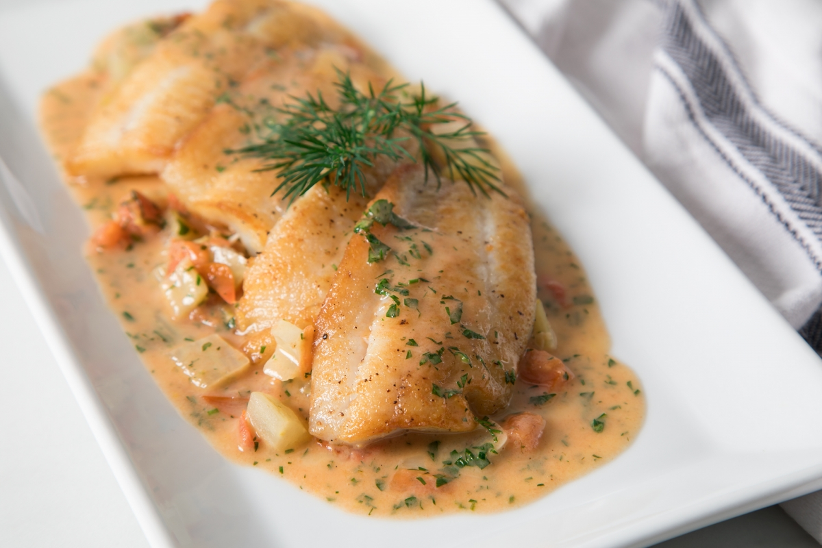 Pan-Seared Petrale Sole with Tomato & Fennel
