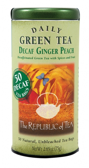 Decaffeinated choices The Republic of Teas offers decaf teas in both green tea and black tea, utilizing the Republic's all–natural and eco–friendly decaffeination process. Check out Daily Green Tea in Decaf Peach Ginger.