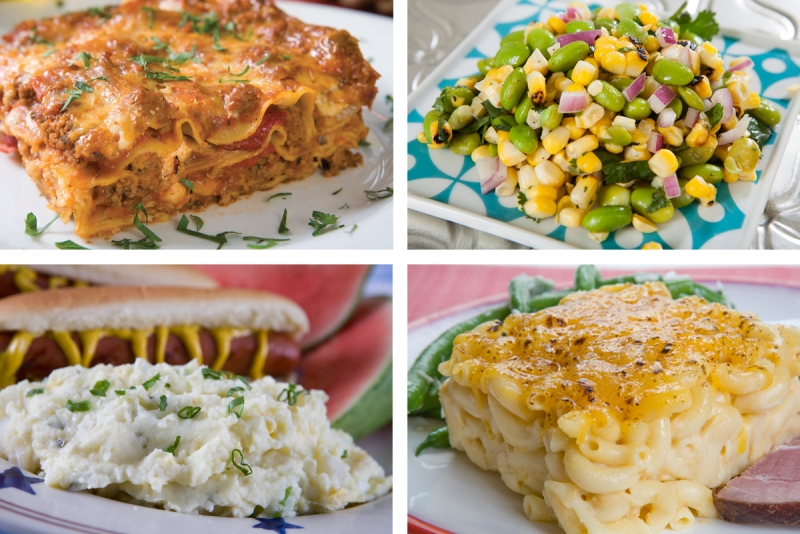 Lasagna, corn succotash, potato salad and mac and cheese