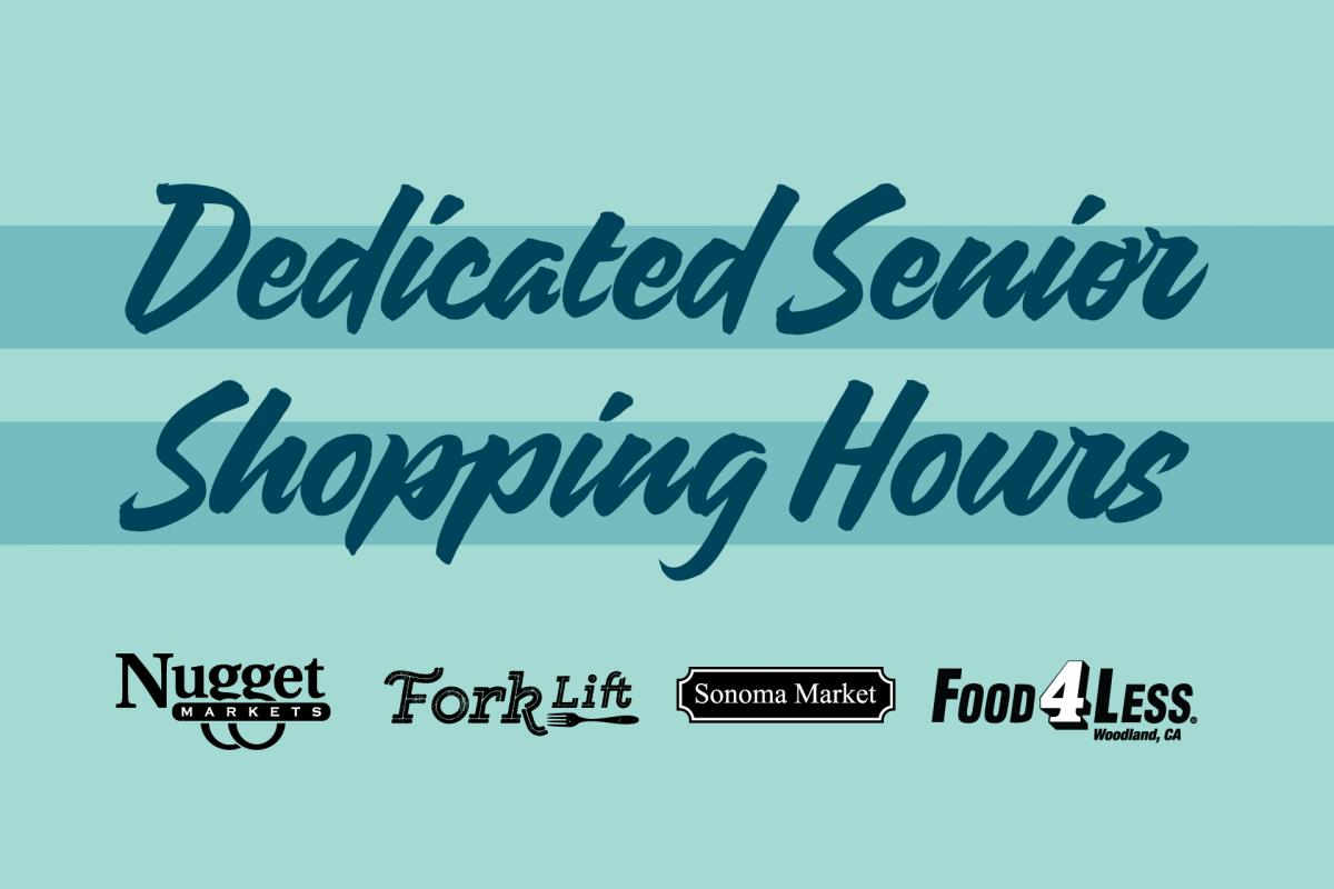 dedicated senior shopping hours text and logos