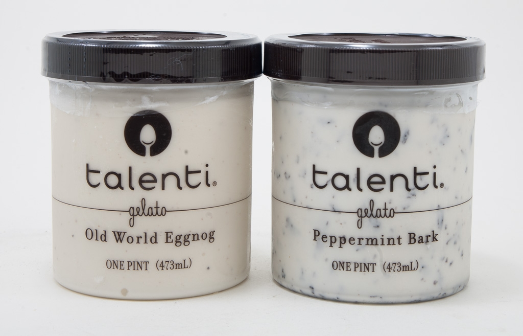 Talenti's Peppermint Bark and Old World Eggnog
