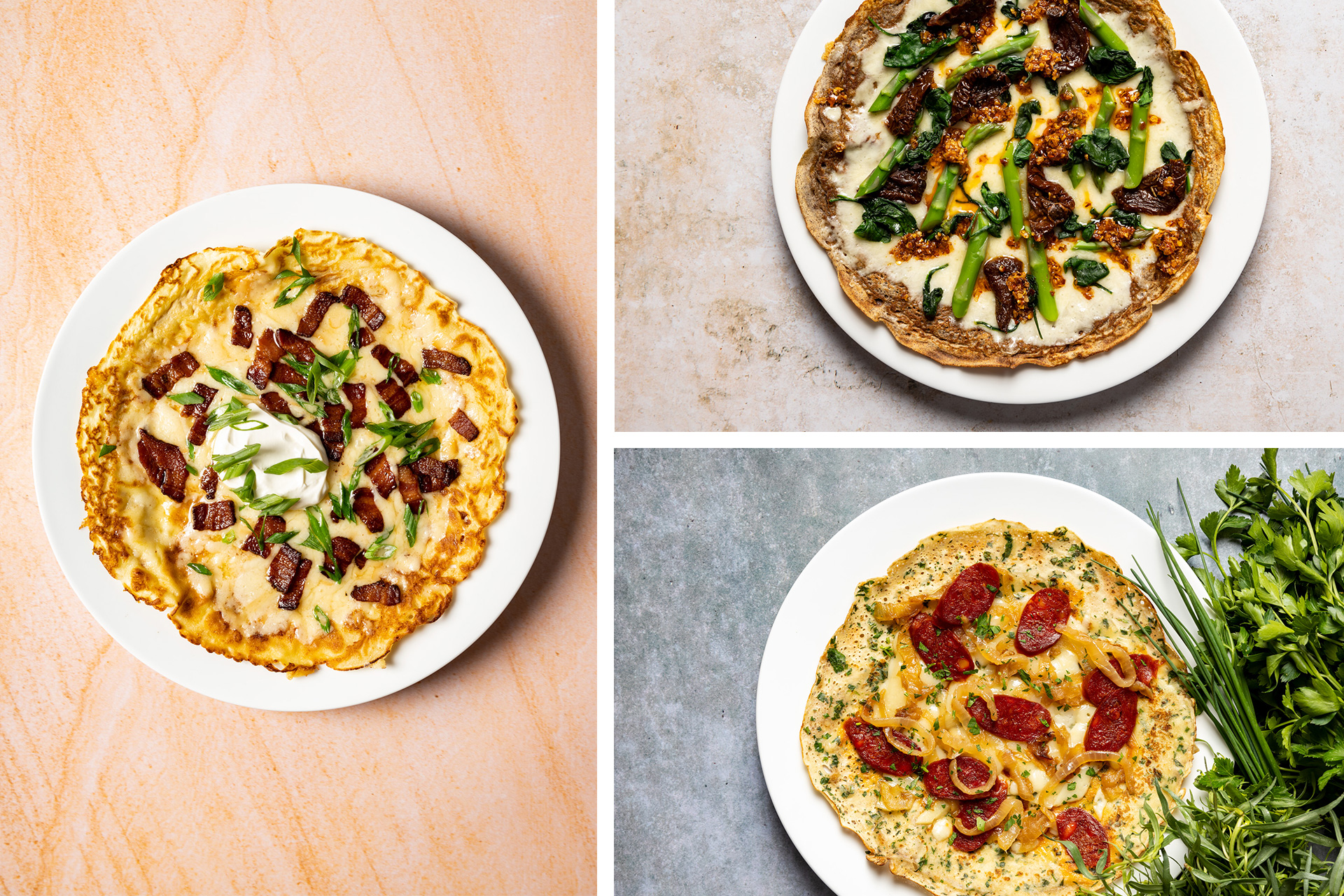 three open-face savory crepes with different bases and toppings