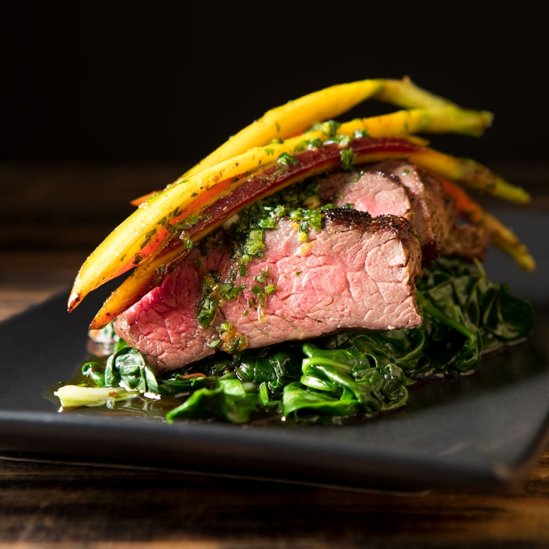 Beef Sirloin with Braised Greens and Carrots
