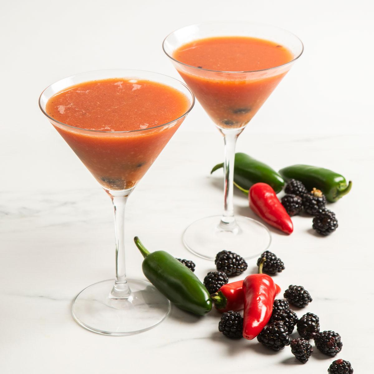 blackberry Bloody Mary martini