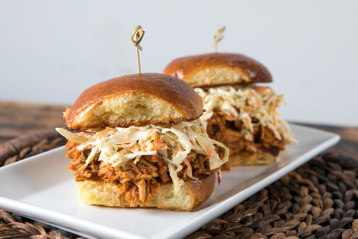 pulled turkey sliders on a plate