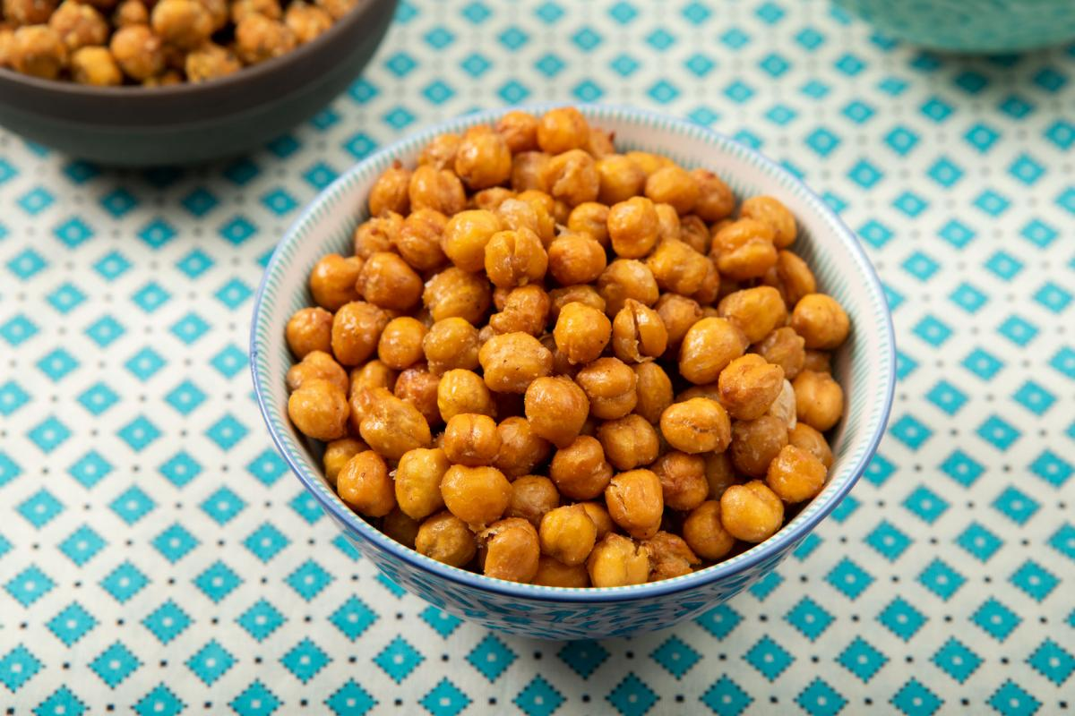 butter n garlic chick pea snacks in a bowl
