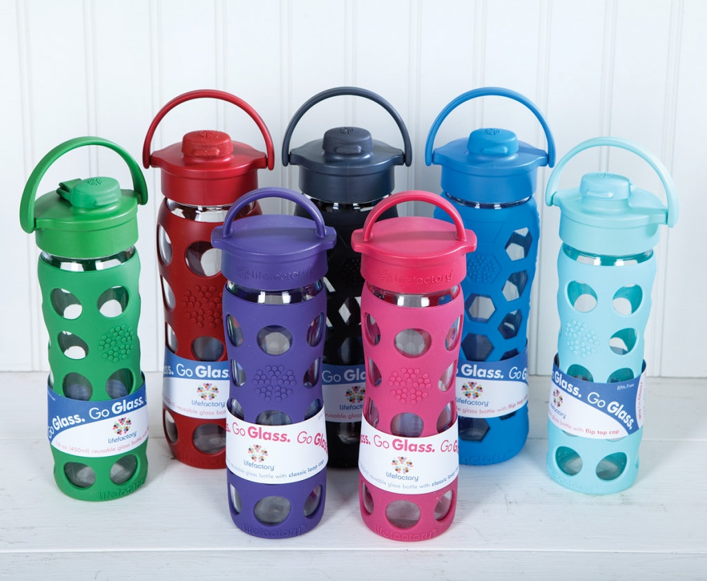 Lifefactory's glass water bottles